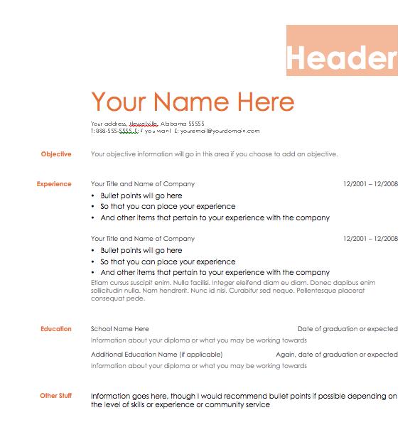 resume format resume template zip